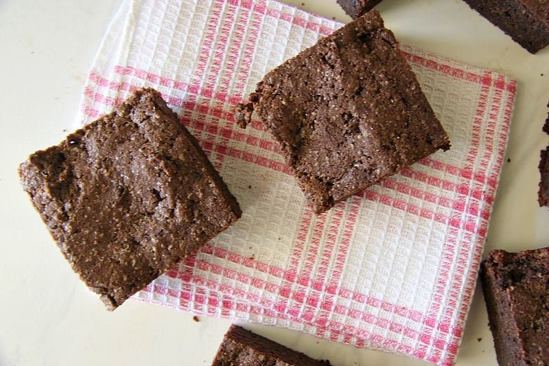 Brownies baked with almond butter