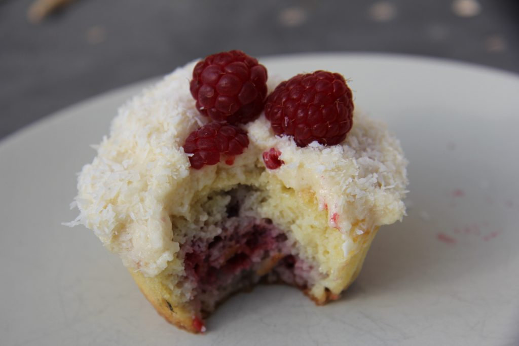 coconut raspberry low carb cupcakes