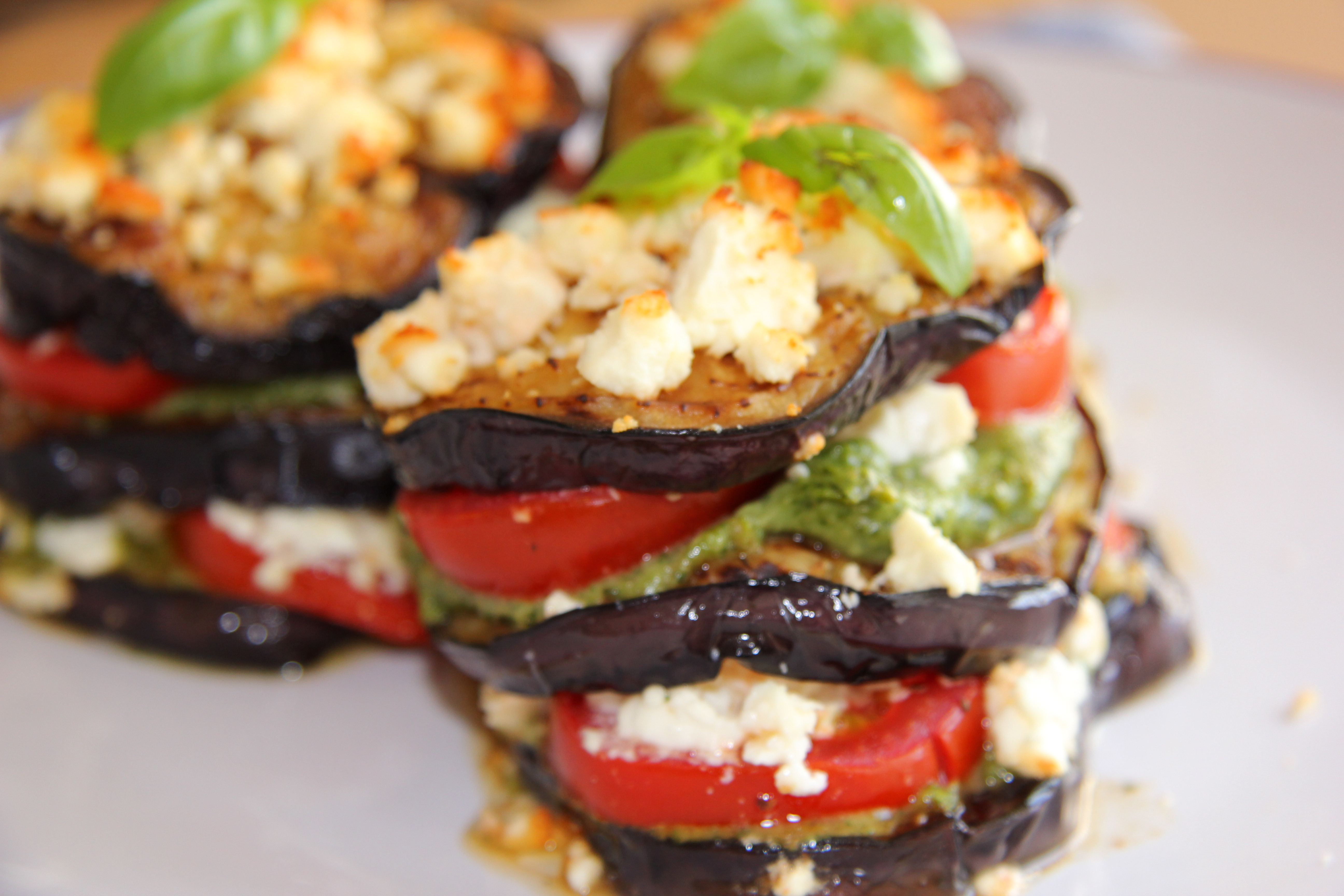 Grilled Eggplant Stacks with Tomato, Basil Pesto and Feta ...