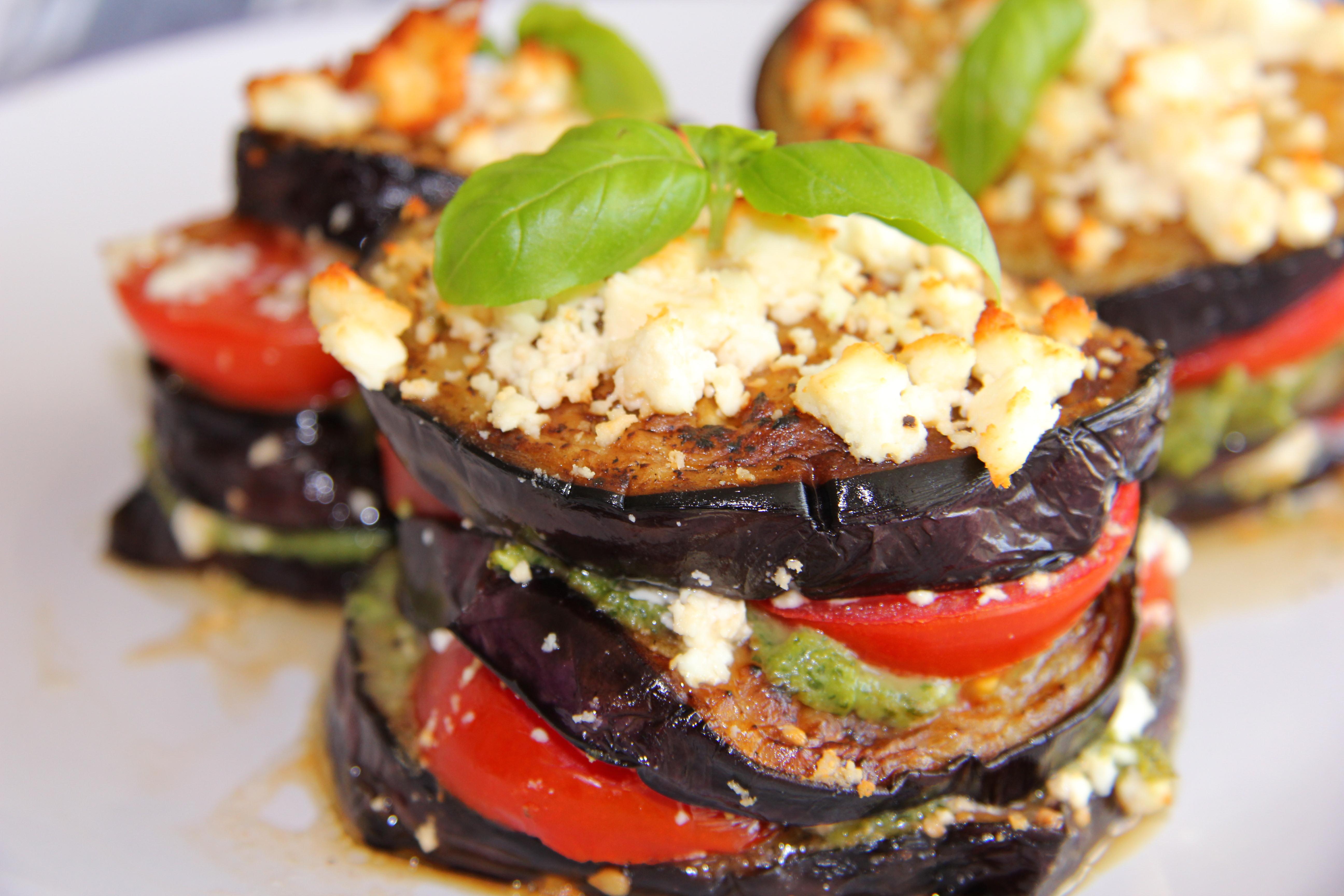grilled eggplant stacks