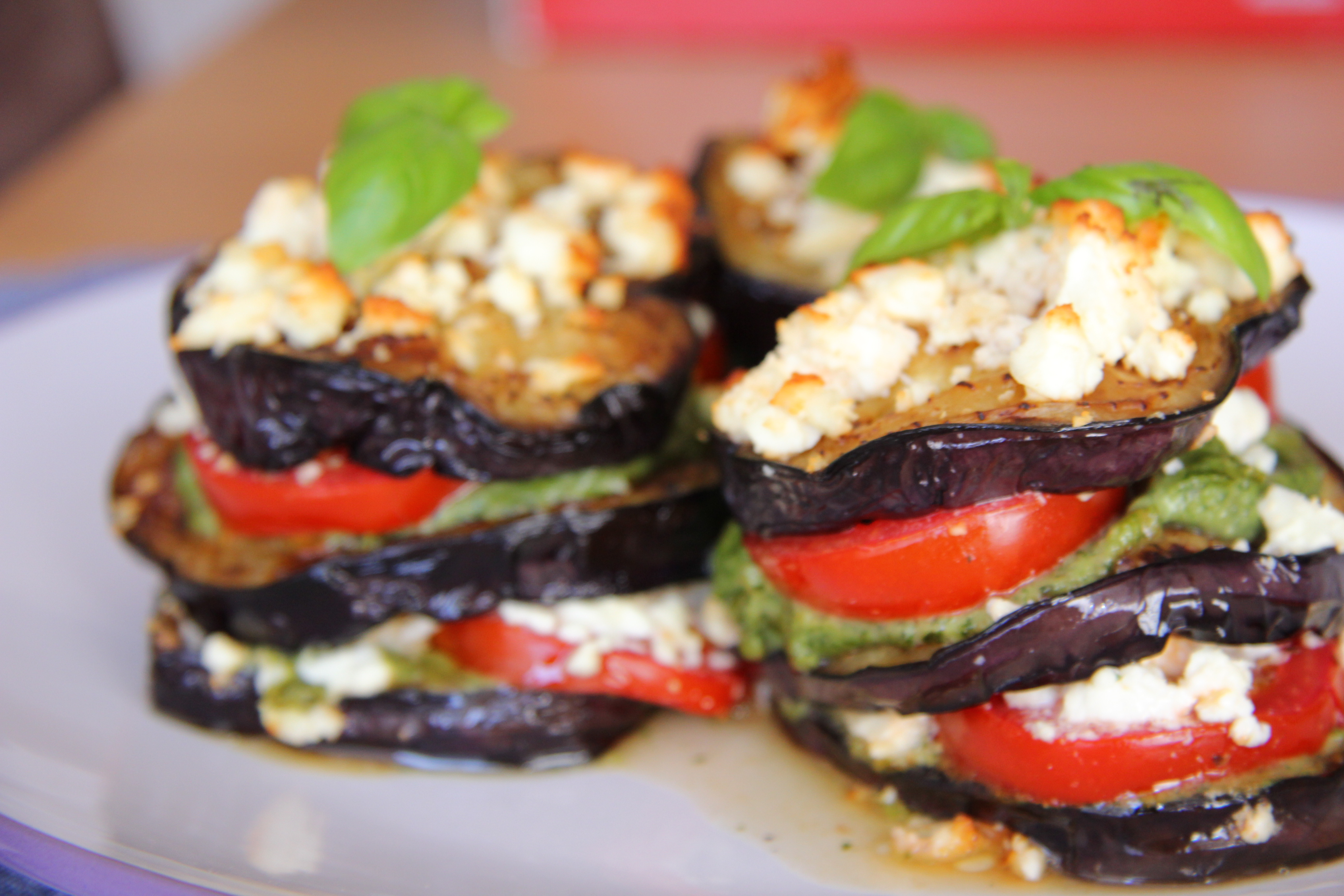 grilled eggplant stack