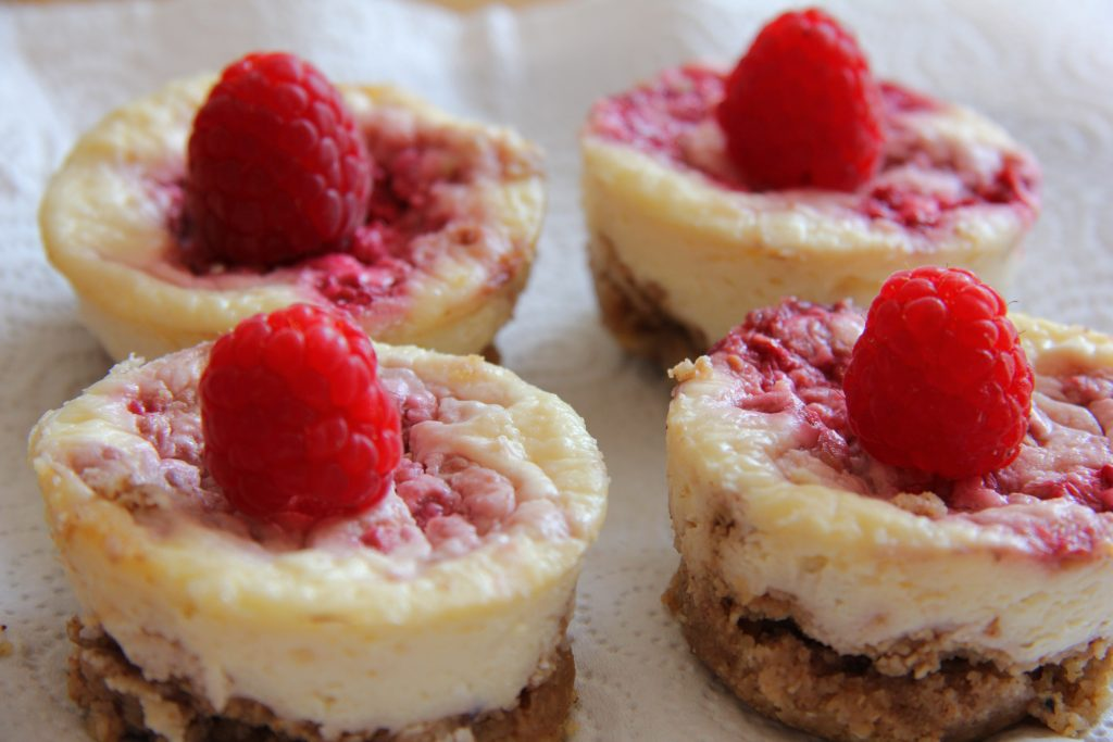 Coconut & Raspberry Cheesecakes