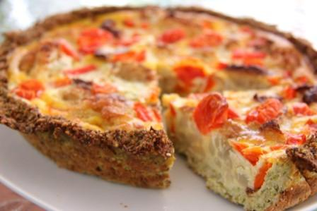 Cauliflower and Walnut Crust Quiche