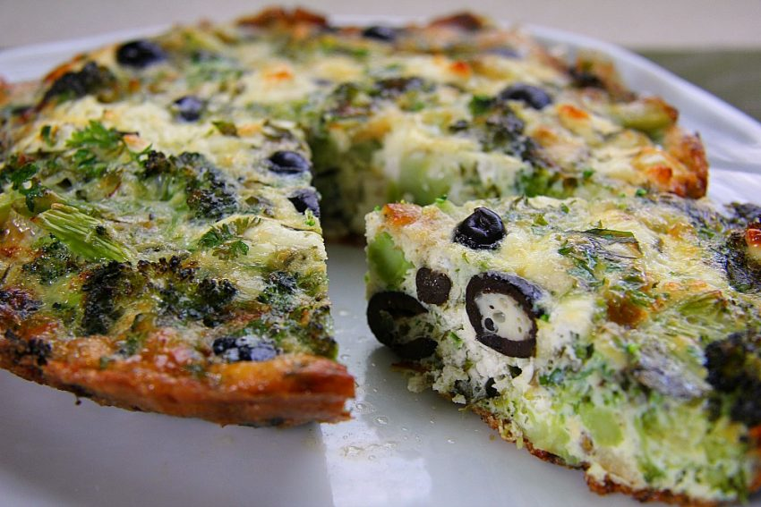 Broccoli, Olive & Goats Cheese Frittata