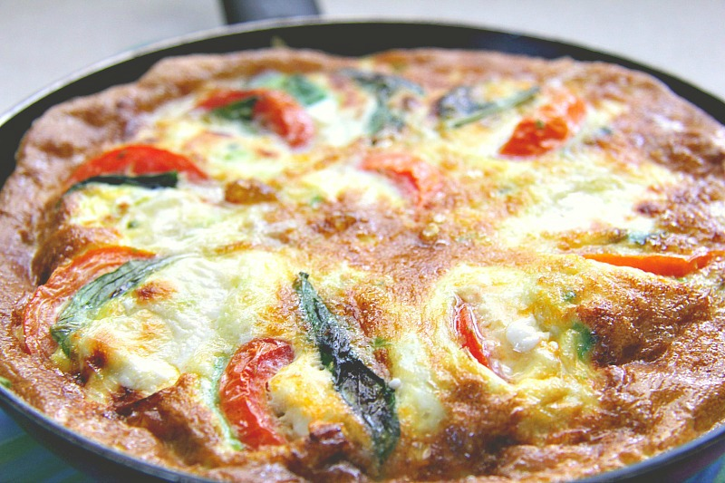 caprese and avocado frittata