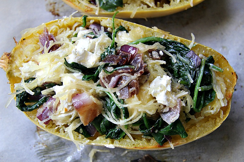 Spinach & Goat Cheese Stuffed Spaghetti Squash