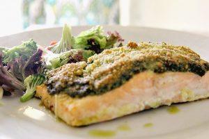 salmon pesto crust