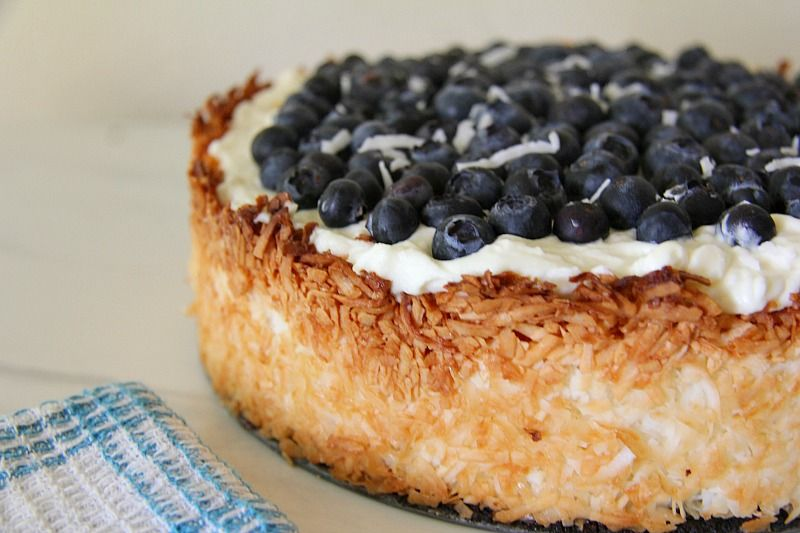 coconut crusted blueberry cheesecake