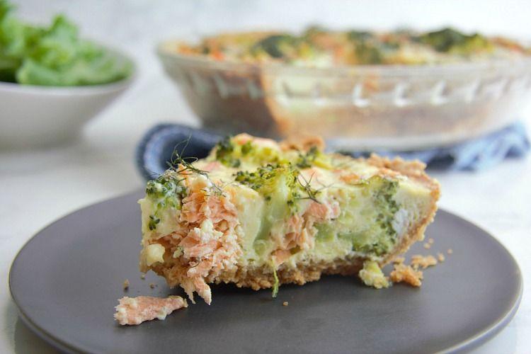 A slice of salmon broccoli quiche