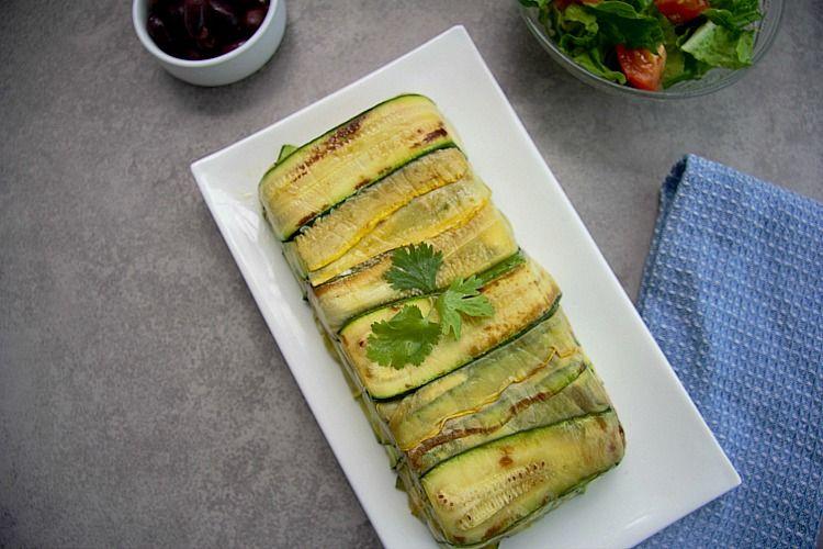 zucchini vegetable terrine on a plate