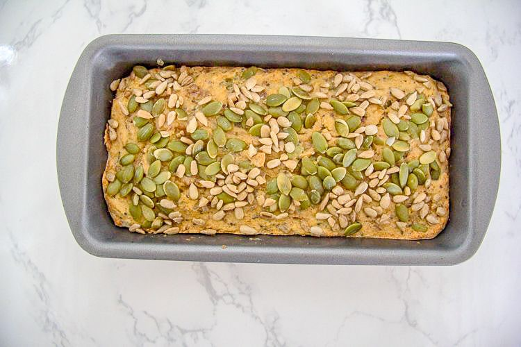 nut and seed bread in tin