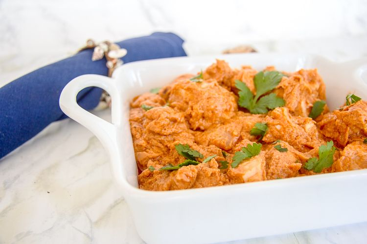 A creamy chicken dish in a peanut butter sauce