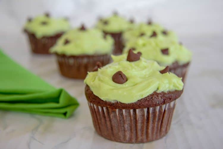 chocolate cupcake with mint frosting