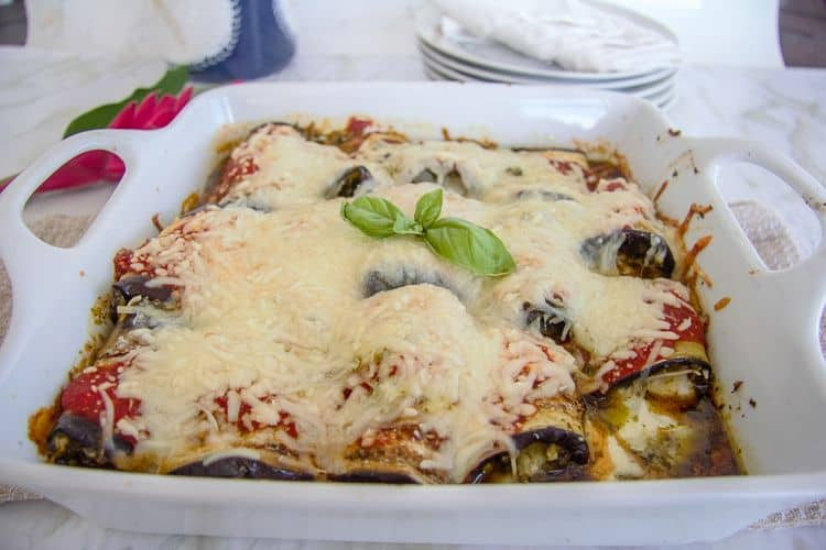 Slices of grilled eggplant used as a pasta substitute