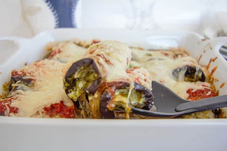 eggplant slices stuffed with pesto and cheese