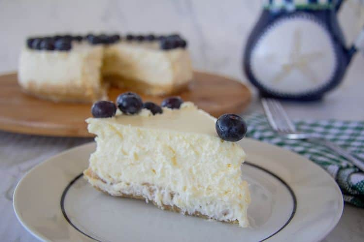 Lemon cheesecake baked in a water bath