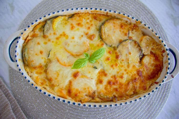sliced zucchini baked in cheese