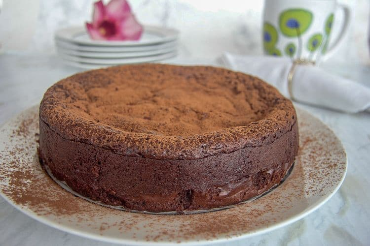 A chocolate cake made with no flour.