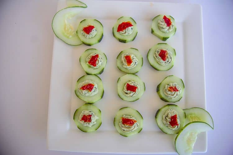 easy cream cheese cucumber bites