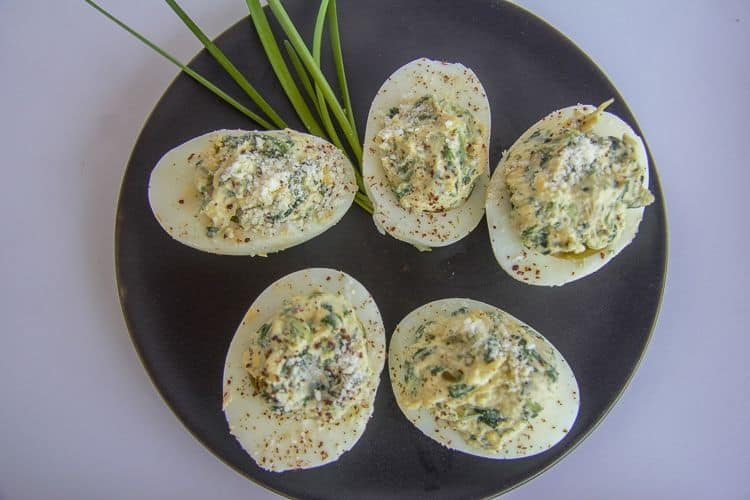 keto spinach artichoke deviled eggs