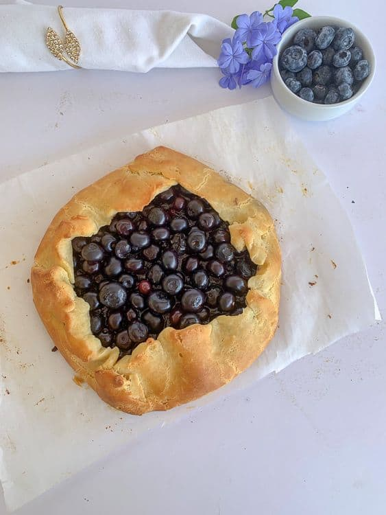 A blueberry galette in a low carb pastry crust