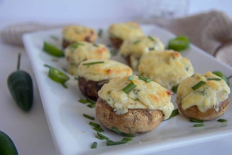stuffed mushrooms with cream cheese & jalapeno