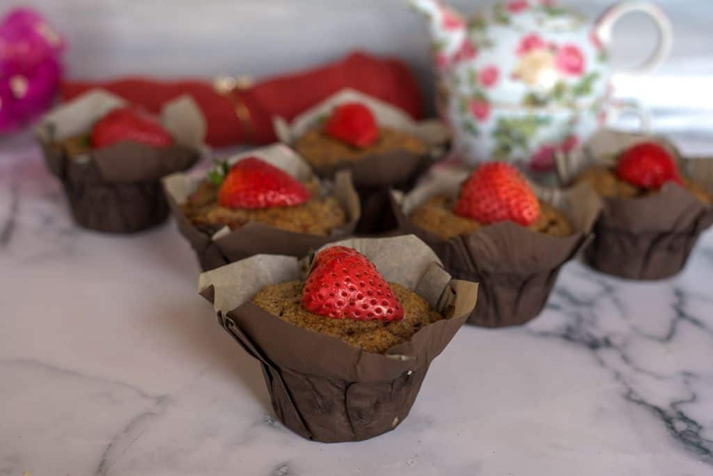 strawberry flaxseed muffins