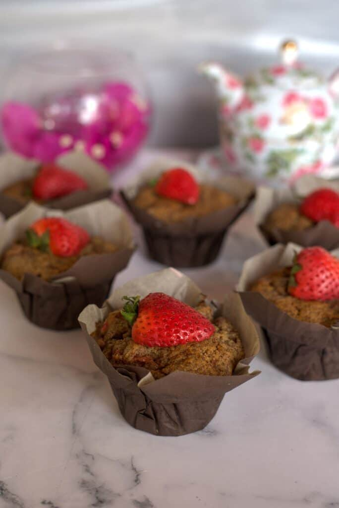 strawberry flaxseed muffin