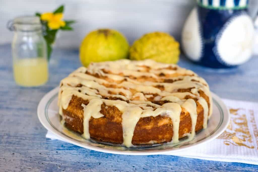 lemon cheesecake coffee cake with lemon curd drizzle