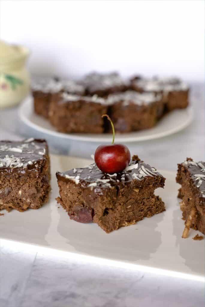 chocolate, coconut & cherry brownies