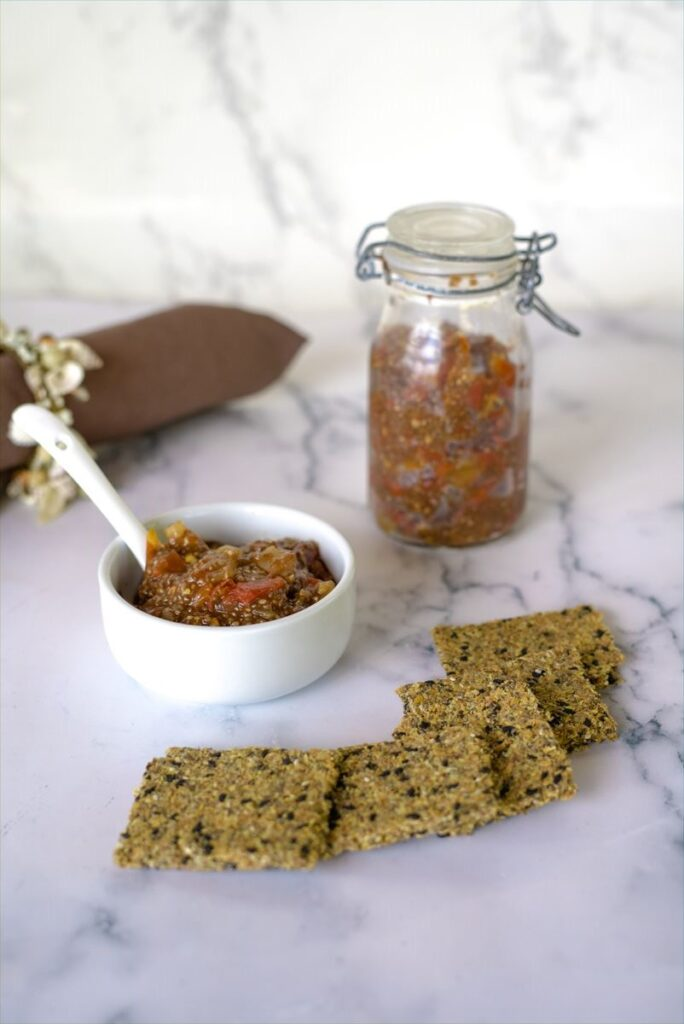 chia jam and crackers