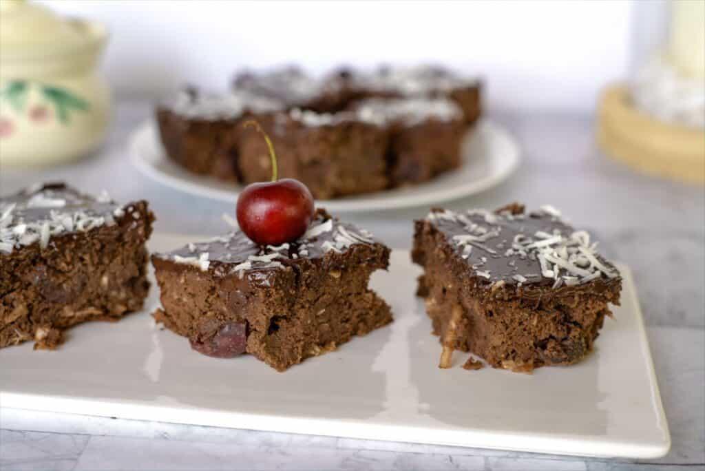 chocolate cherry coconut brownie