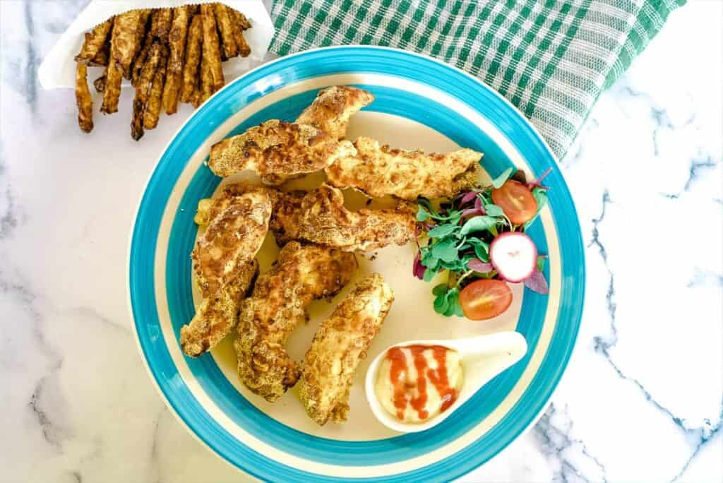 chicken strips coated with spicy coating