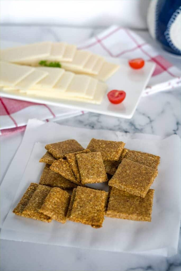keto flaxseed crackers with cheese slices.