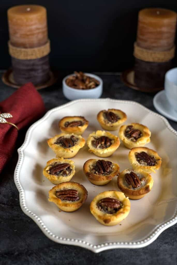 mini pecan pie tarts baked with a low carb pastry