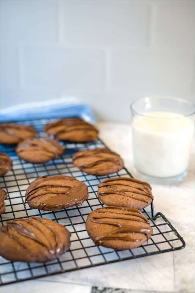 almond flour chocolate cookies on a cooling tray.