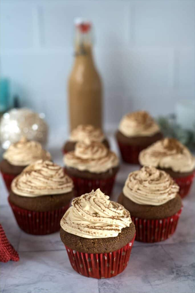 Chocolate cupcakes with a Baileys Irish cream frosting.