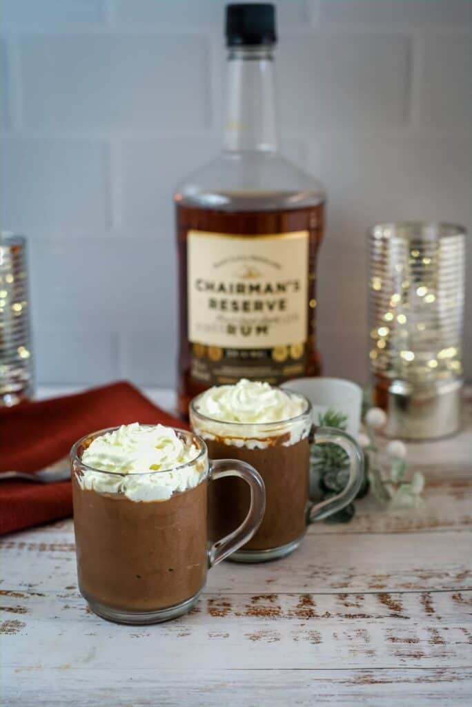 chocolate rum mousse in glass mugs