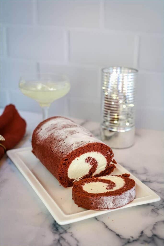 red velvet swiss roll make with coconut flour