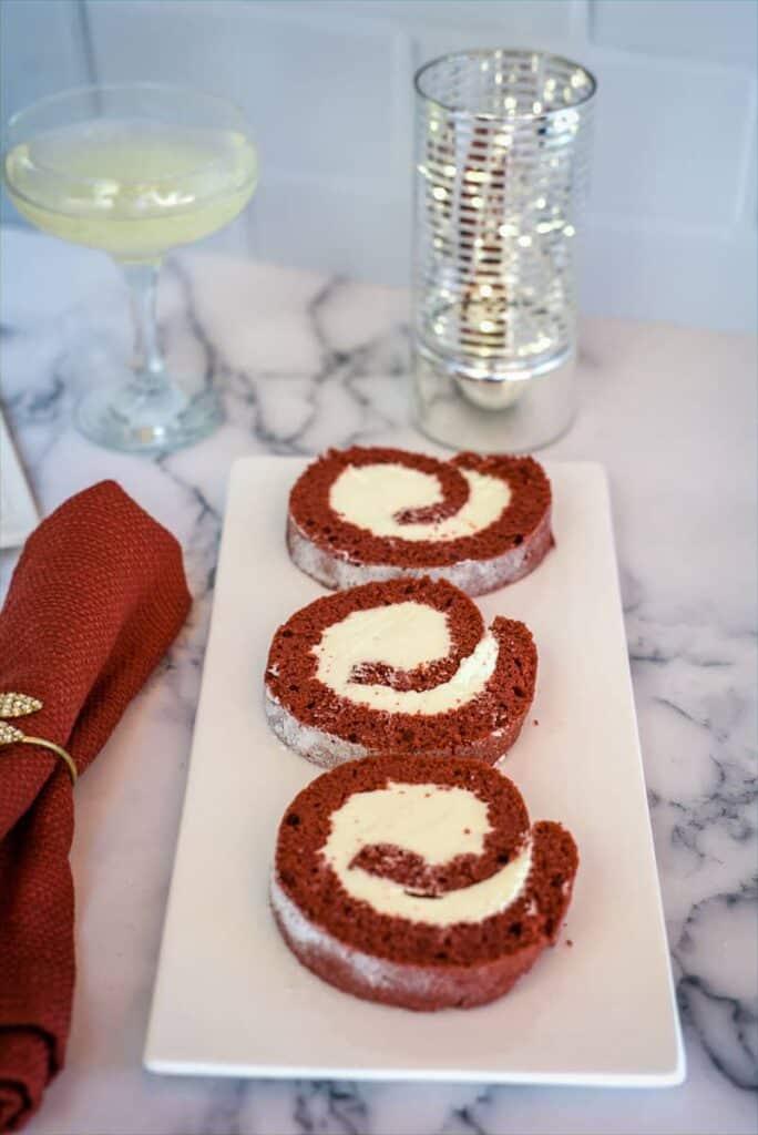 red velvet roll slices