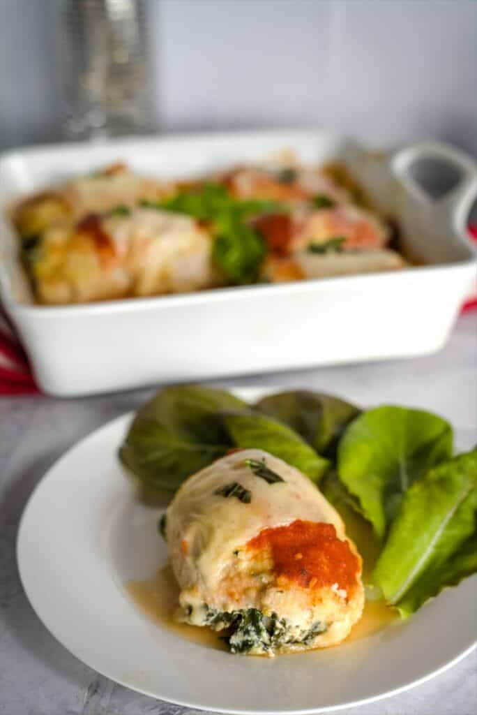 chicken rollatini with side salad