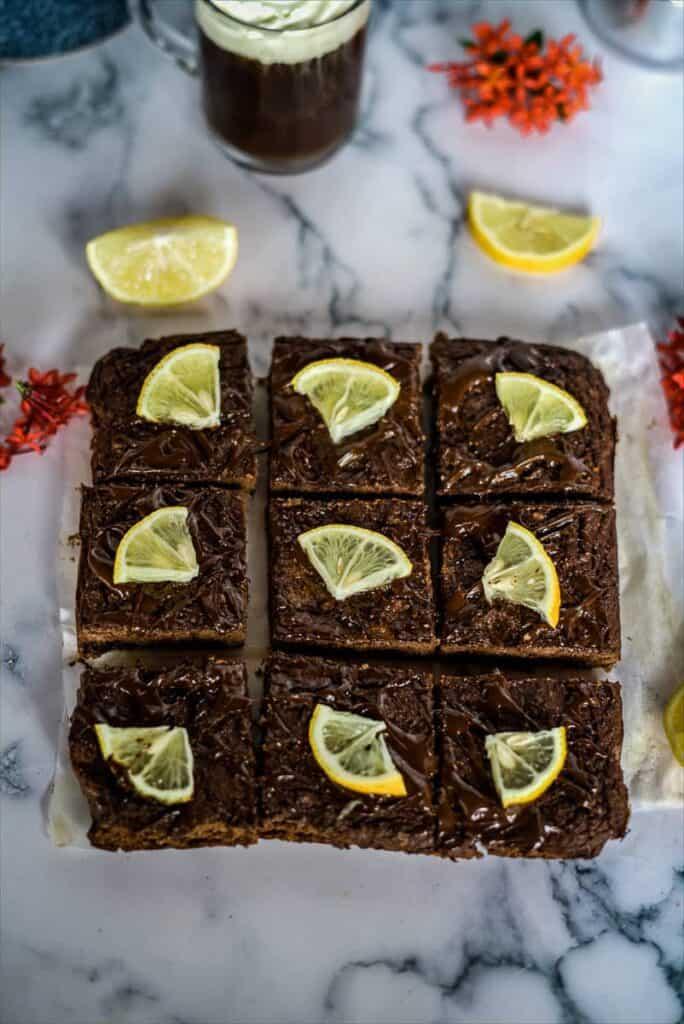 chocolate orange brownies made with coconut flour