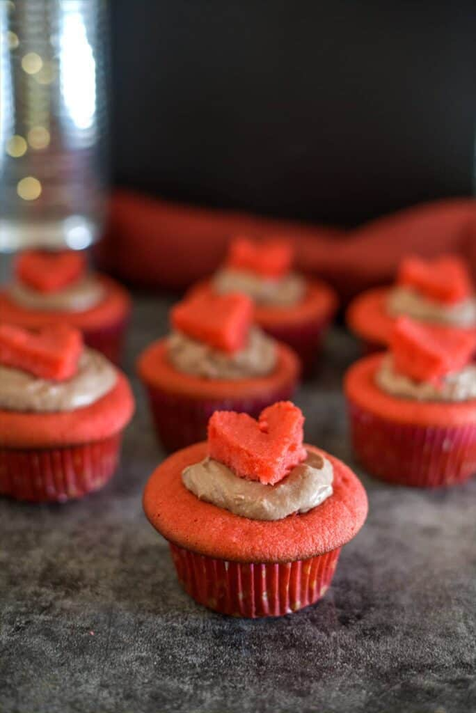 heart topped valentines day cupcake