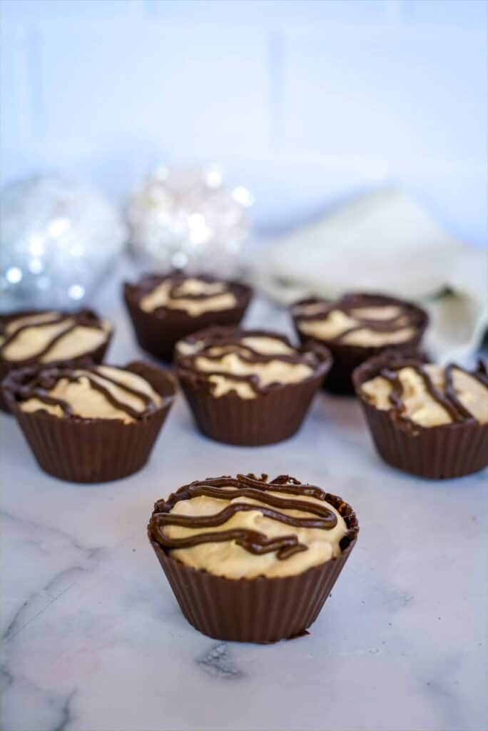 chocolate cups with a peanut butter mousse filling