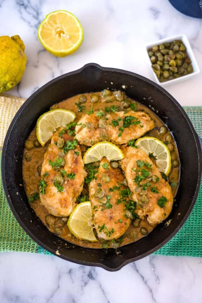 chicken breasts in a lemon caper sauce