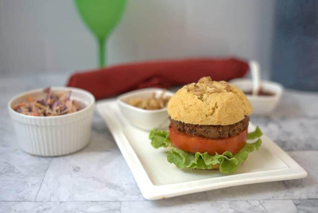 burger in an onion burger bun