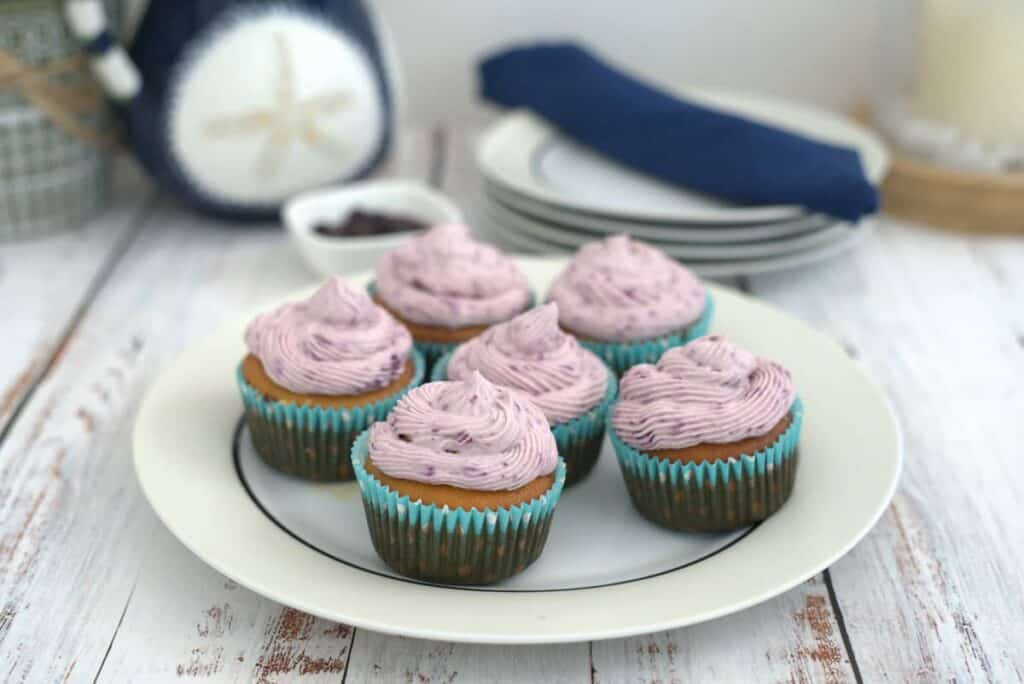 blueberry cupcakes on a plate