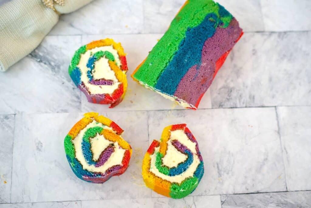 rainbow cake with slices