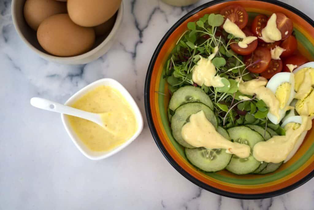 salad with salad cream dressing